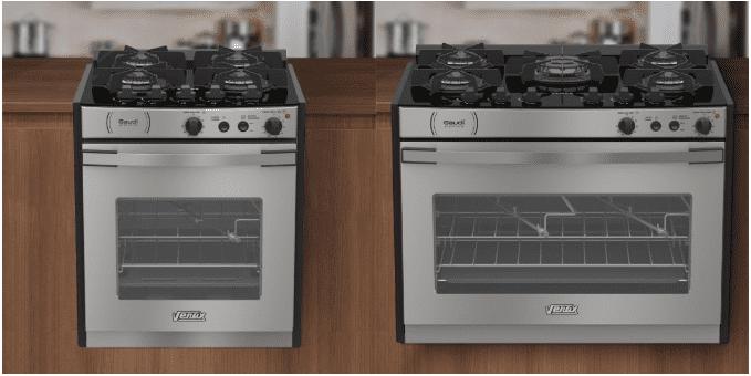 Dois modelos em aço inox de Fogão de Embutir da Venax, um de quatro e outro de cinco queimadores