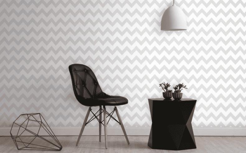 Ambiente monocromático decorado com papel de parede vinilizado