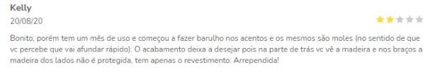 Comentário sobre acabamento do Sofá cairo nas Casas Bahia